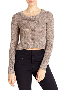 2b Heathered Crop Sweater