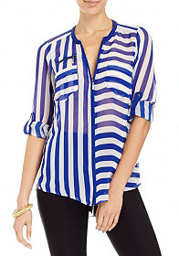 2b Striped Zip Tunic
