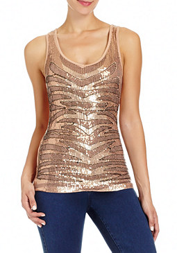 2b Tiger Sequin & Beaded Top