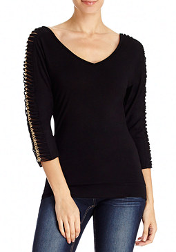 2b Ruched Chain Sleeve Top