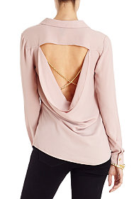 2b Cutout Back Button Down Top