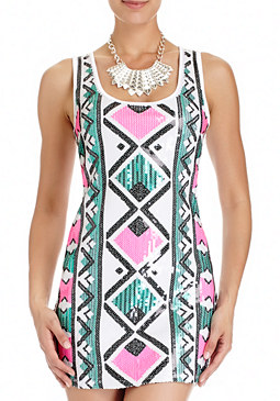 Janelle Tribal Sequin Dress at bebe