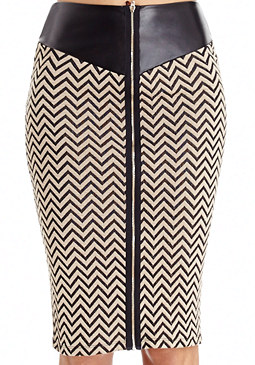 2b Leatherette Zip Midi Skirt