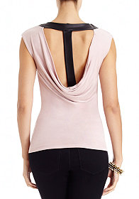 2b Leather Strap Cowl Back Top