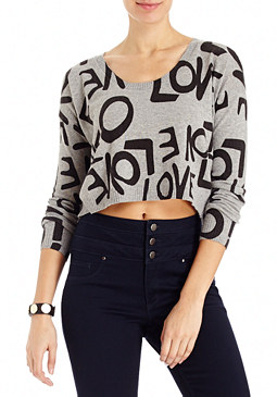 2b Long Sleeve Love Crop Top