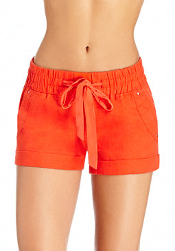 2b Linen Ribbed Inset Shorts