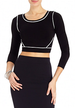 2b Ashley Solid Piped Crop Top