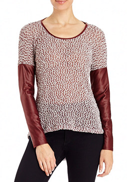 2b Faux Leather Sleeve Top
