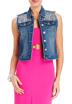 Studded Denim Vest at bebe
