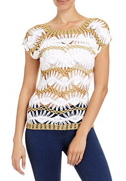 2b Metallic Stripe Crochet Top