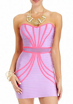 2b Strapless Mesh Waist  Dress