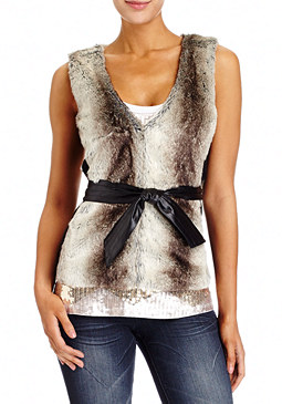 2b Sweater Ribbed Fur Vest