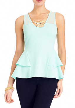 2b Necklace Tiered Peplum Top