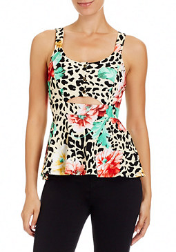 2b Leopard Pop Peplum Top