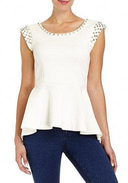 2b Studded Peplum Top