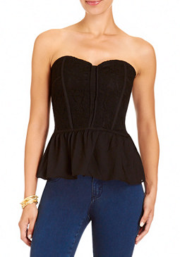 Lace Peplum Bustier at bebe