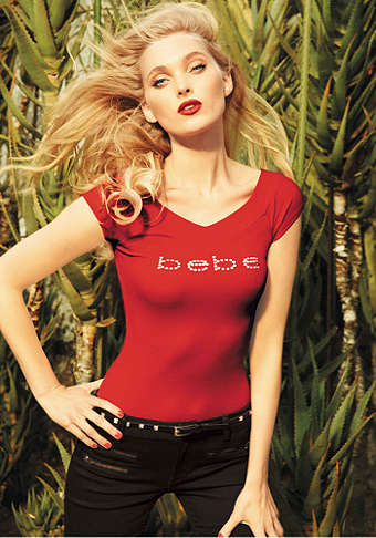Logo Double V-Neck Tee at bebe