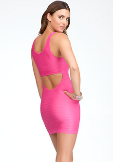 Back Cutout Shine Bodycon Dress at bebe