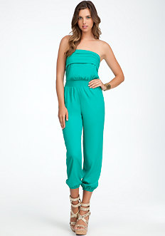 bebe Pleated Smock Jumpsuit
