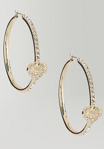 Rhinestone Heart Hoop - ONLINE EXCLUSIVE at bebe