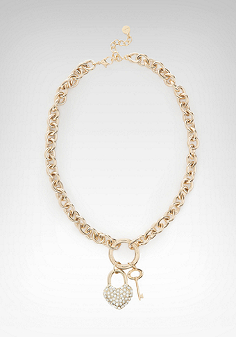 Rhinestone Heart Padlock Necklace-ONLINE EXCLUSIVE at bebe