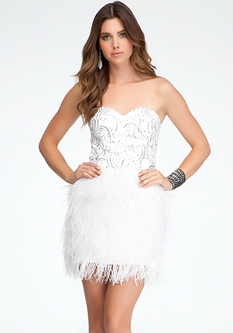 Isis Sequin Feather Dress - WEB EXCLUSIVE at bebe