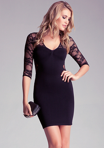 bebe Lace Inset 3/4 Sleeve Bodycon Dress - ONLINE EXCLUSIVE