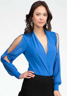 bebe Long Sleeve Silk Wrap Bodysuit
