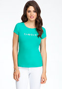 Logo Basic Rhinestone Tee at bebe