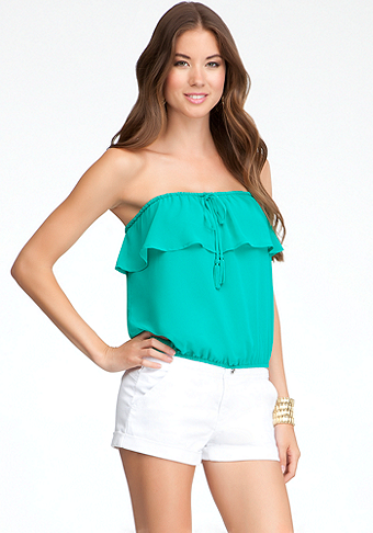 bebe Ruffled Tube Top