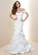 bebe Off Shoulder Trumpet Bridal Gown - Rami Kashou