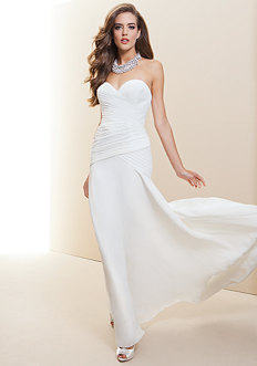 bebe Strapless Fitted Drape Bridal Gown