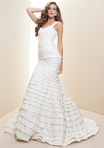 bebe Layered Silk Taffeta Bridal Gown - Rami Kashou