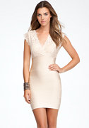 bebe Cutout Lace Twofer Bandage Dress
