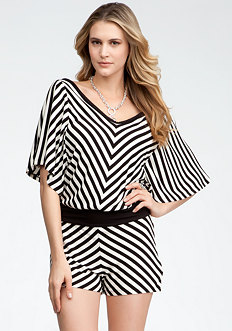 Ruffle Sleeve Stripe Romper - ONLINE EXCLUSIVE at bebe