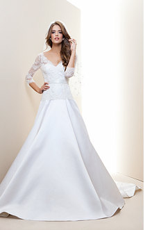 bebe Lace 3/4 Princess Sleeve Bridal Gown - Rami Kashou