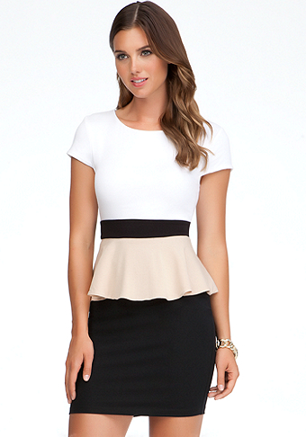 bebe Colorblock Peplum Top - WEB EXCLUSVE