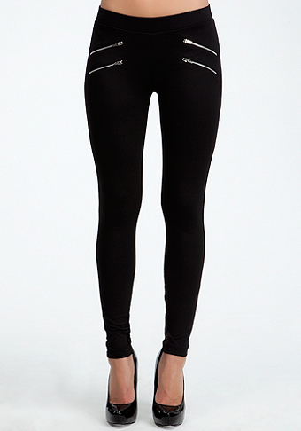 Four Zipper Leggings at bebe