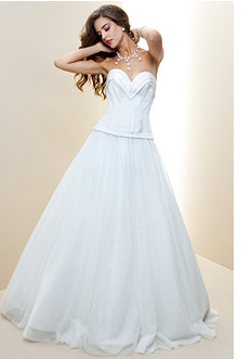 bebe Pleated Sweetheart Silk Bridal Gown - Rami Kashou