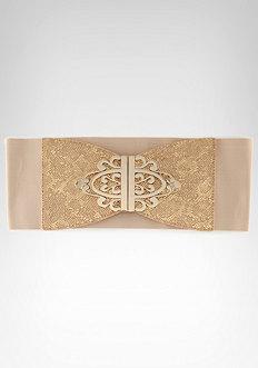 bebe Large Metal Plaque Belt