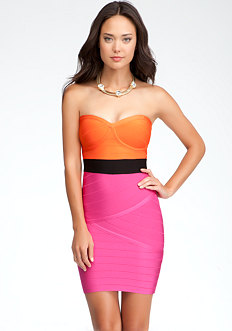 bebe Strapless Bandage Colorblock Dress