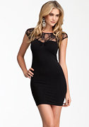 bebe Back Cutout Lace Inset Dress