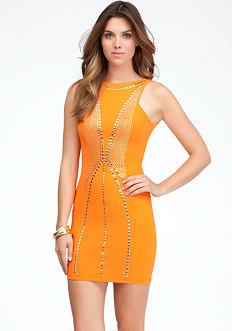 Open Back Studded Dress at bebe