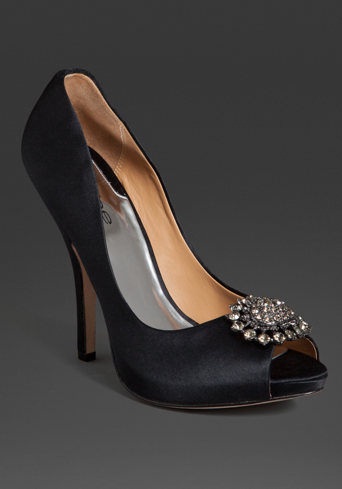 Bebe Blair Peep Toe Jeweled Pump - Blk - 8