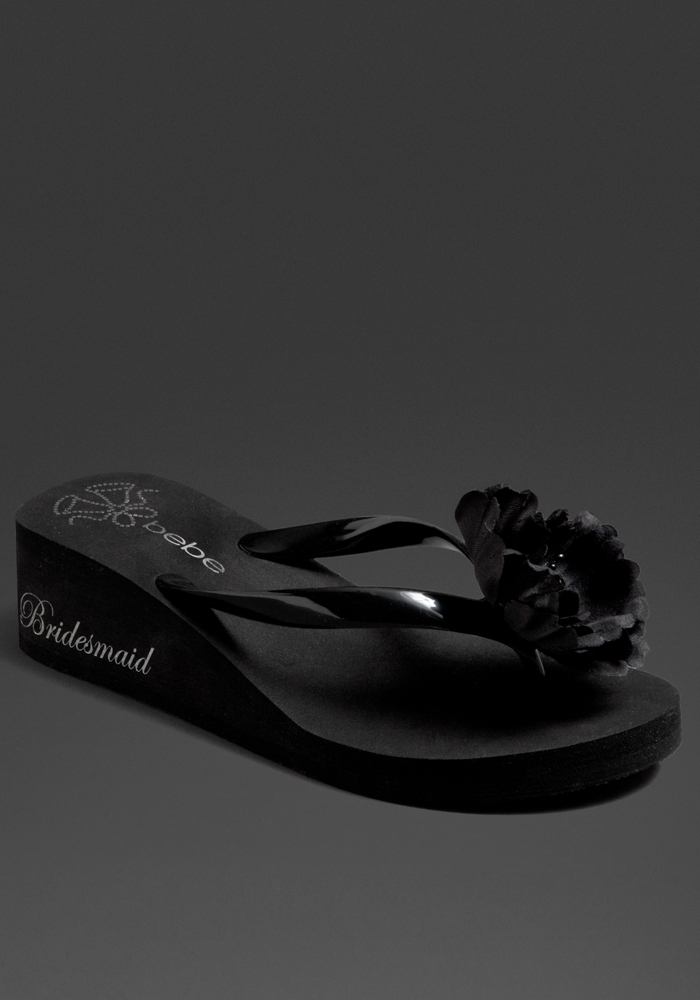 Bebe Bridesmaid Wedding Bell Flip Flop - Blk - Xs