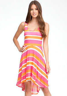 bebe Sleeveless Hi-Lo Stripe Dress