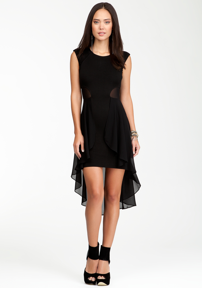 Mesh High Low Ruffle Dress