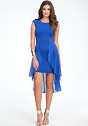 bebe Mesh Cutout Ruffled Peplum Dress