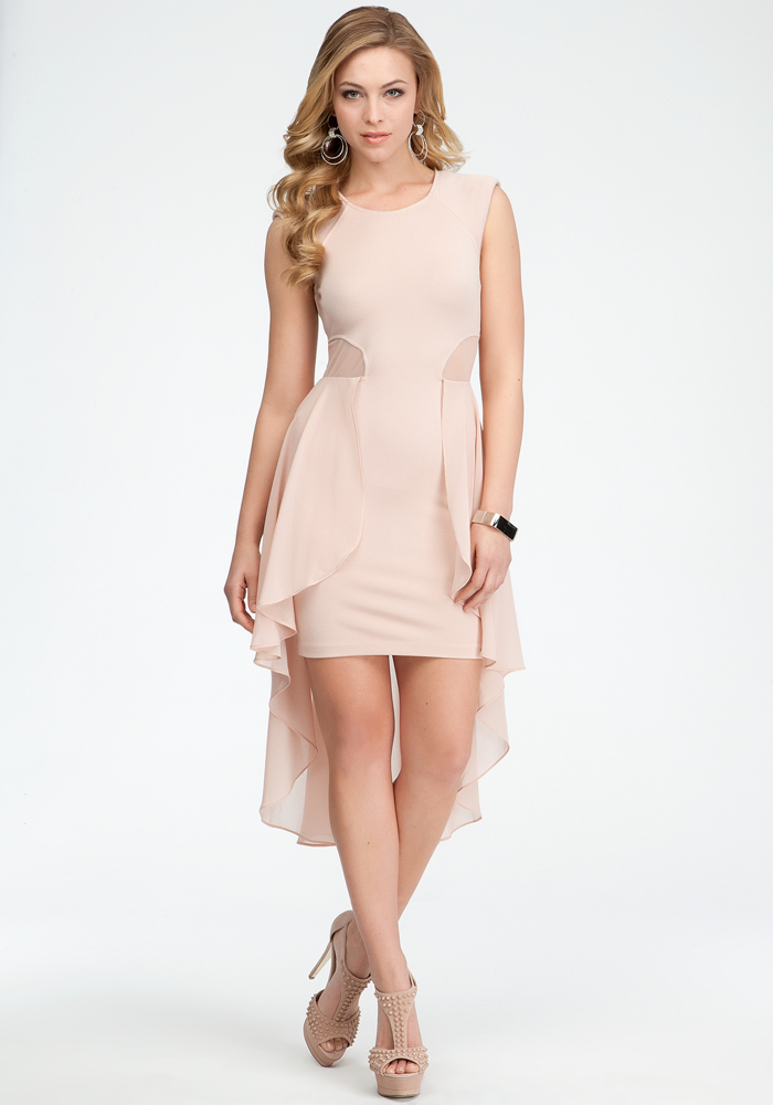 Mesh Cutout Ruffled Peplum Dress - Rose Dust - L