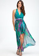 High Low Halter Maxi Print Dress at bebe